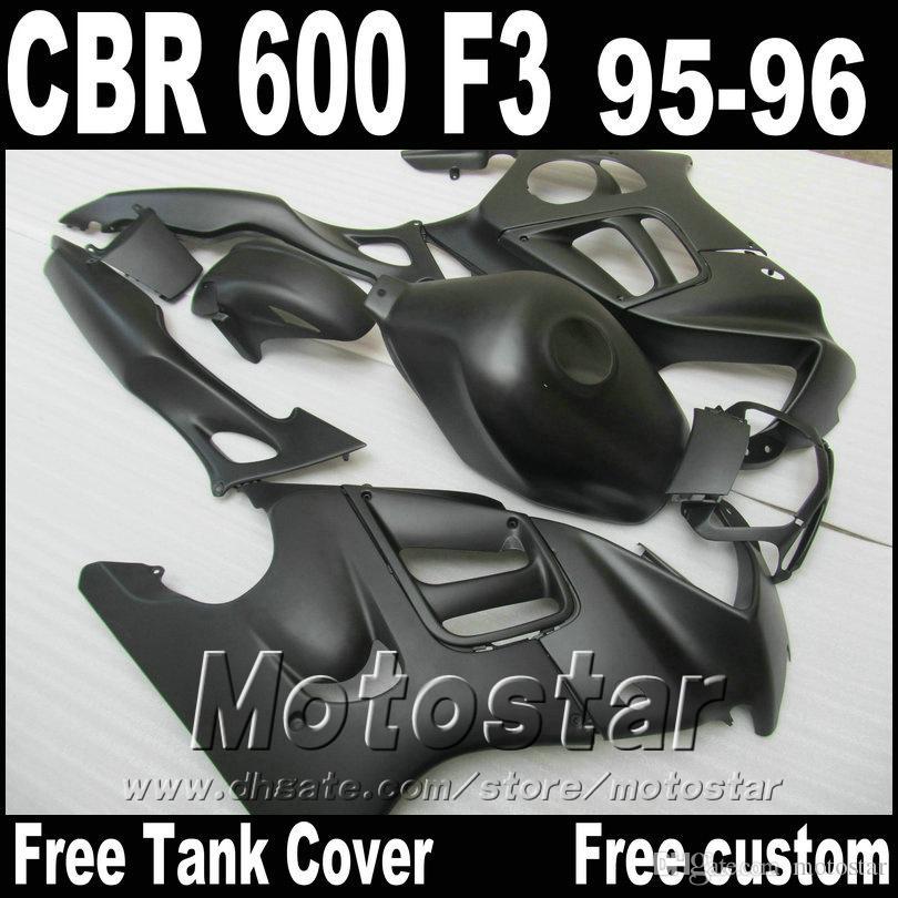 Настроить мотоцикл обтекатели набор для HONDA 1995 1996 CBR600 F3 CBR 600 95 96 все матовый черный высокого класса обтекатель комплект