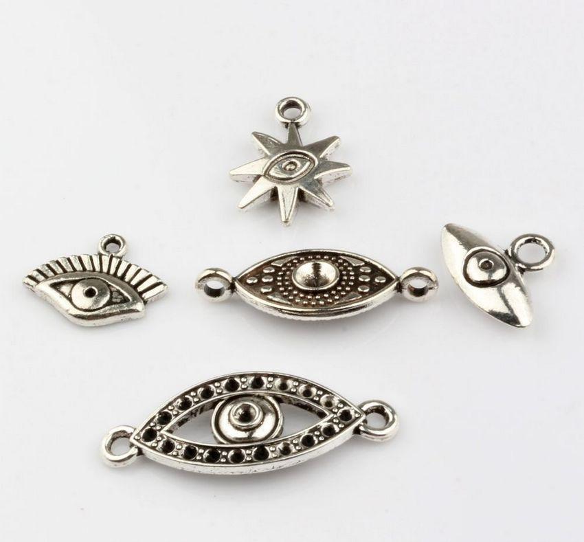 Жарко ! 150PCS Мода Античное серебро Цинковый сплав смешана Charms Турции Глаза подвески ювелирных изделий DIY