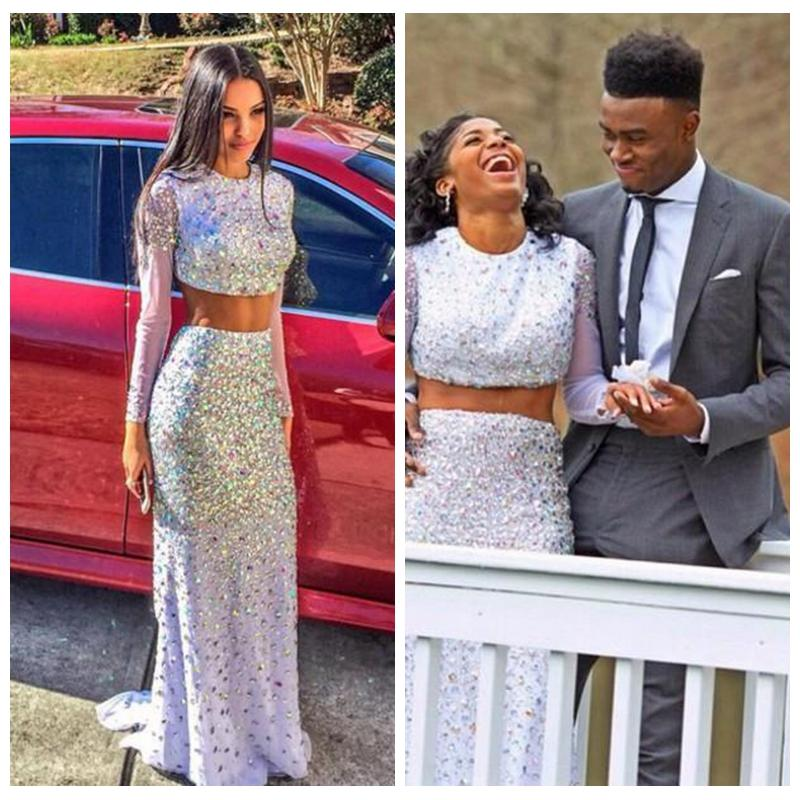Two Pieces White Prom Dresses 2016