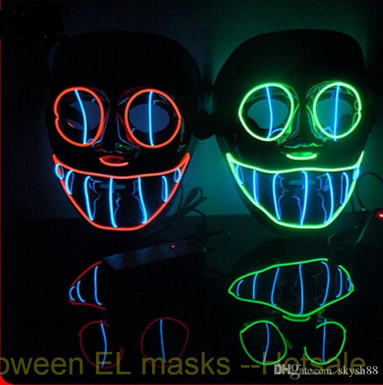 Flashing El wire light up Vendetta , Saw mask , Clown mask on/off ...
