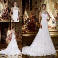 Custom Made 2015 Sexy Vestidos De Noiva See Through Back High Neck Lace Mermaid Wedding Dresses Bride Dress Vestido De Casamento