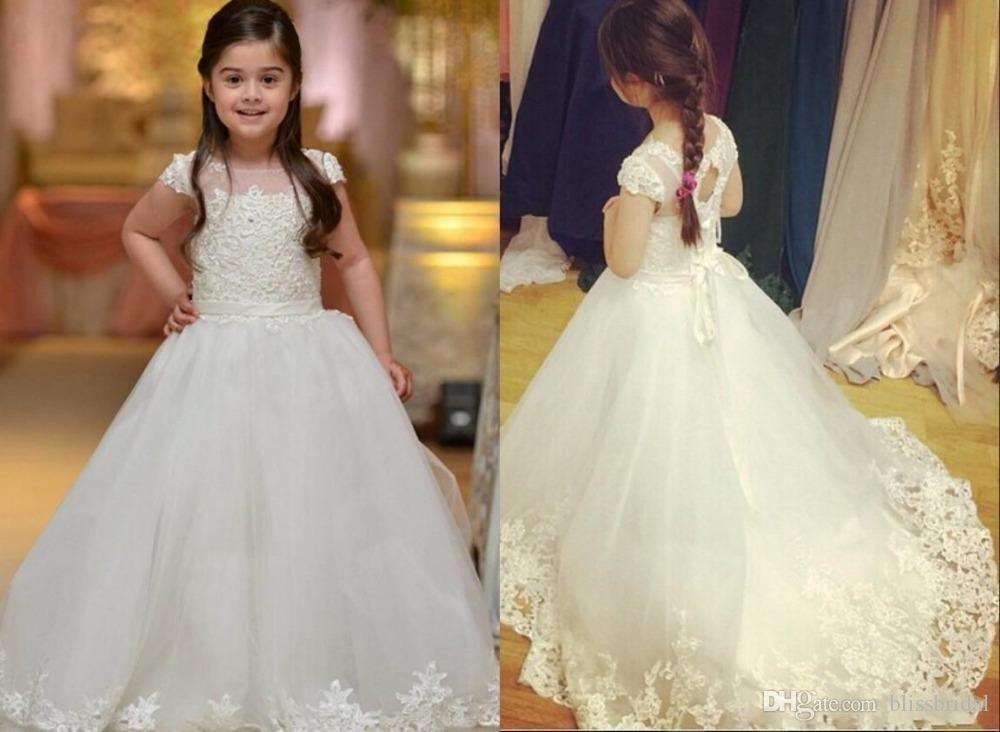 Princess Short Sleeves Tulle A Line Flower Girl Dresses Illusion Lace Up Kids Pageant Gowns Sweep Train Wedding White Flower Girl Gowns