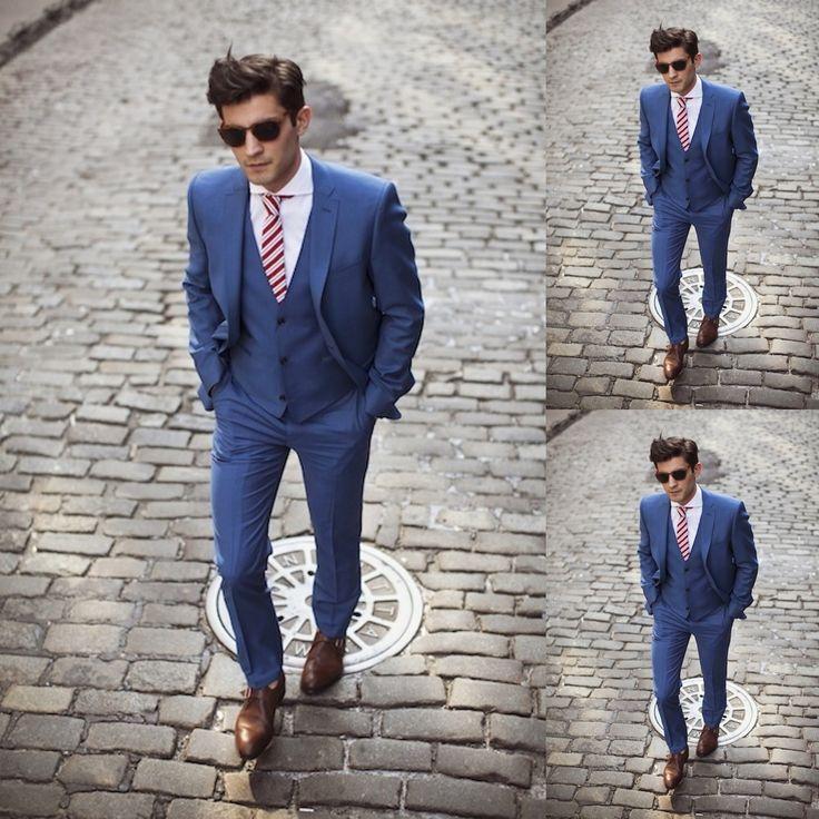 Dark Blue Groom Tuxedos 2015 Custom Made Groomsmen Morning Style Best Man Men Wedding Suits Prom Formal Tuxedos ( Jacket+Pants+Vest+Tie)