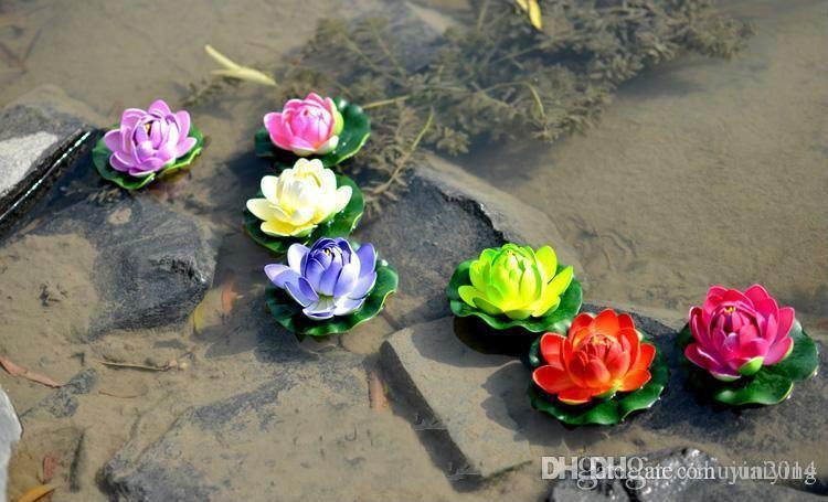 13 CM 지름 아름 다운 인공 연꽃 플로팅 크리스마스 꽃 장식품 웨딩 파티 장식 용품에 대 한 물 꽃