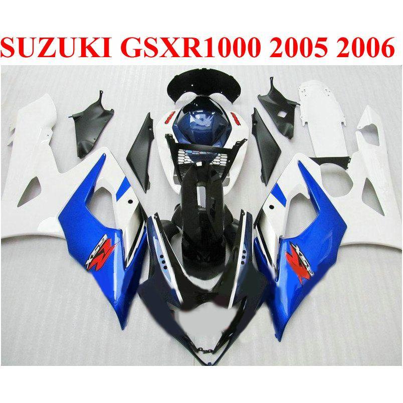 7 cadeaux Bodykits ABS pour SUZUKI 2005 2006 GSXR1000 K5 K6 set de carénages GSX-R1000 05 06 kit de carénage blanc bleu noir EF50