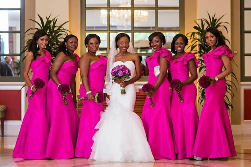 Сливовый цвет платье невесты одно плечо Раффлед Русалка Тафта полная длина 2016 горничной вечер гостей платье для свадьбы