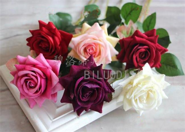 """Mini pojedynczy Velet Rose 50 cm / 19.69 """"Długość Sztuczne róże na ślub Kwiat Home Boże Narodzenie Party Showcase Dekoracje"""