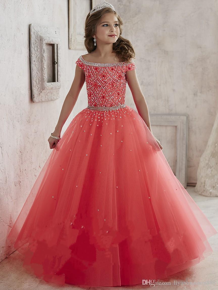 Compre Vestidos Del Desfile De Niñas Usan 2016 Nuevo Off Shoulder Crystal Beads Coral Tulle Formal Vestido De Fiesta Para Adolescentes Kids Flowers