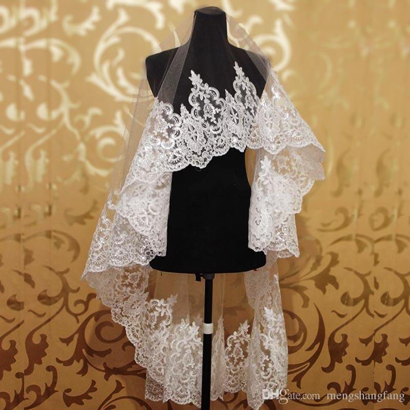 Único nível New casamento véus com bling lantejoulas rendas borda valsa véu de noiva sem pente acessórios do casamento nv7023