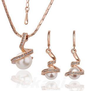 Najwyższej klasy zestawy biżuterii Silver Nowa Moda Gorąca Sprzedaż Pearl Kolczyki Wisiorki Naszyjniki Zestaw Dla Kobiet Dziewczyna Prezent Hurtownie Bezpłatny Statek 0010LD
