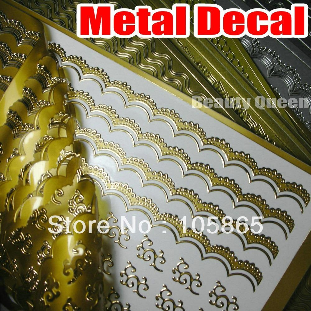 Gold + Silver + Colored METALLIC Nail Strip Tattoo Decals Wrap Metal SWIRL Sticker Tip Tips Decorative Decoration Acrylic NEW