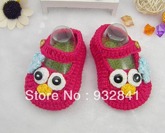 2015 Factory directly Pretty on sale red cartoon baby crochet shoes ,Infant footwear,size 9cm10cm11cm shoesToddler shoes 0-12M cotton