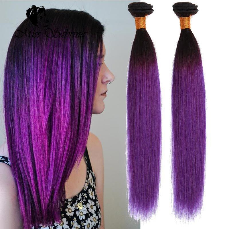 Stylish Straight Purple Weave Hair Ombre Brazilian Hair Products