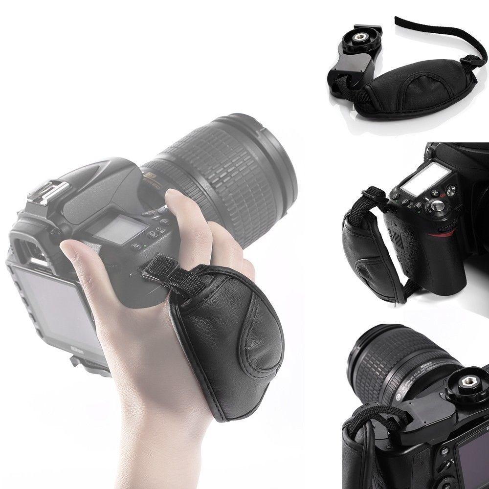 Correa de Mano Muñeca Empuñadura de Cámara para SLR DSLR Canon Nikon PEOS Sony Pentax Negro