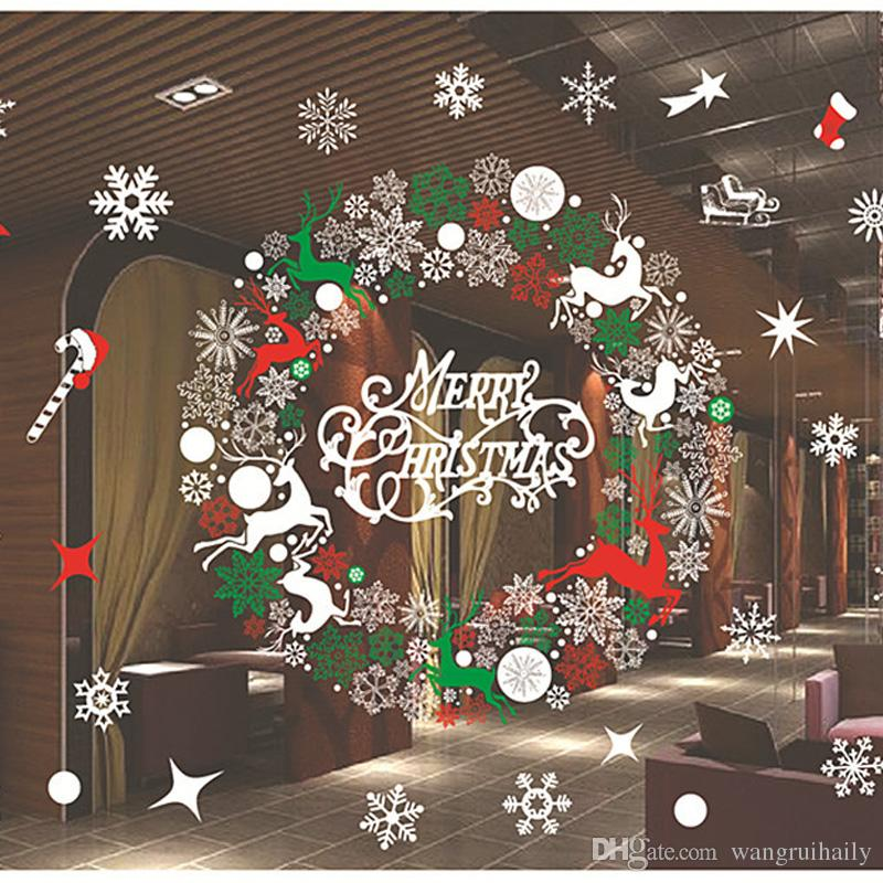 Christmas Window Decals.Christmas Window Stickers Waterproof Background Sticker Environmental Protection Christmas Decals Home Decoration 72 52cm 130g Seasonal Decorations