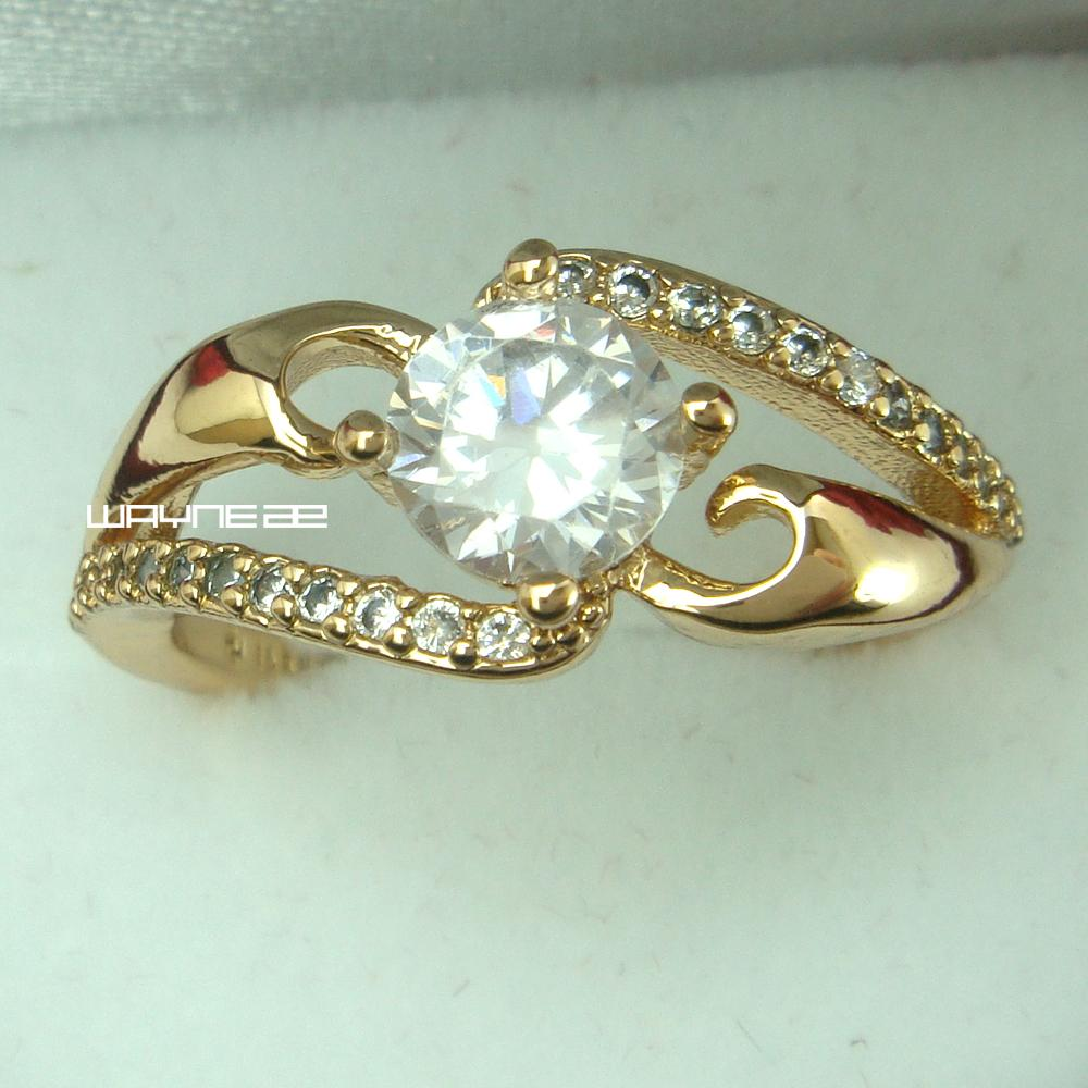 Bague en saphir blanc de mariage avec bague de fiançailles en plaqué or 18 carats 7.5 et 8 R233