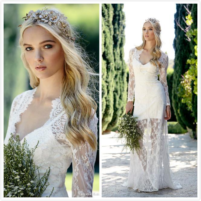 2015 Fashion Bohemian Wedding Dresses with Long Sleeves Sheath Lace Bridal Dresses V Neck Floor Length Bridal Wedding Gowns Custom Made