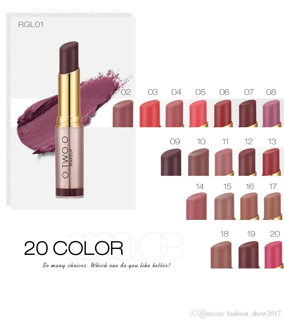 NEW Brand O.TWO.O 20 Colours Matte Lipstick Lips Makeup طويل الأمد Kissproof Lip Gloss