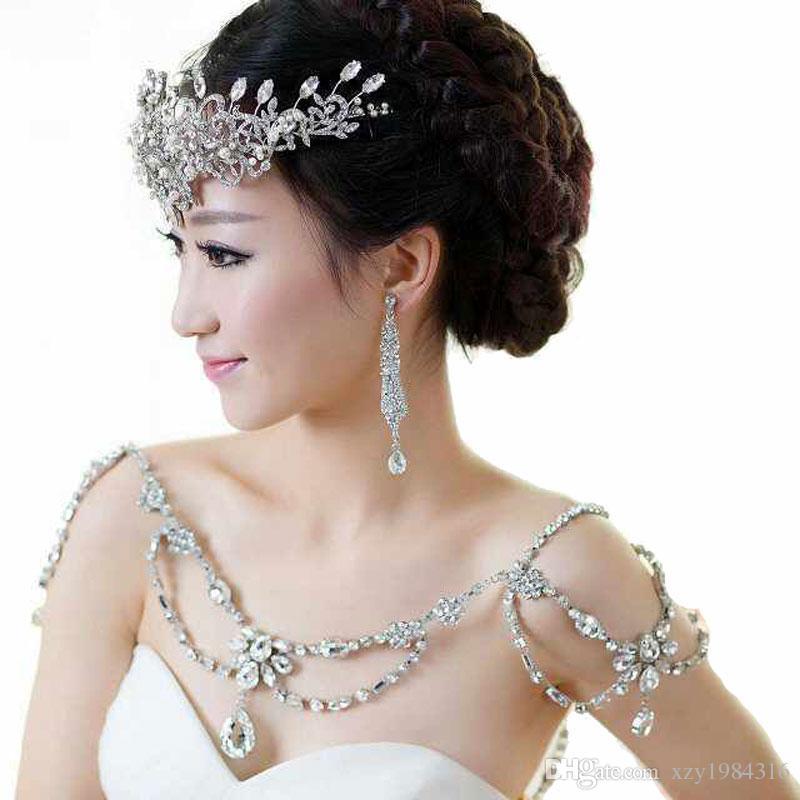 2015 superbe pas cher chaîne d'épaule vente chaude mode cristal noble collier de mariée tempérament perles accessoires de mariage