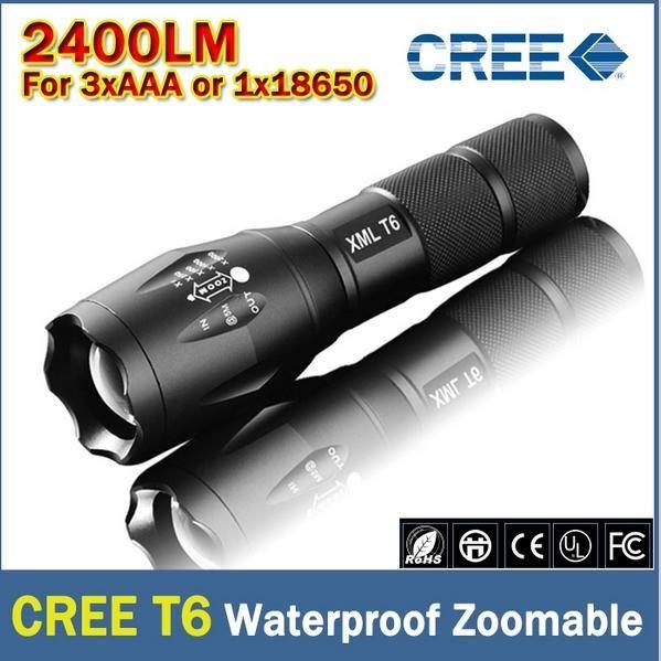 Ultrafire XM-L T6 2400Lumens cree led 토치 Zoomable cree LED 손전등 토치 빛 3xAAA 또는 1x18650 무료 배송