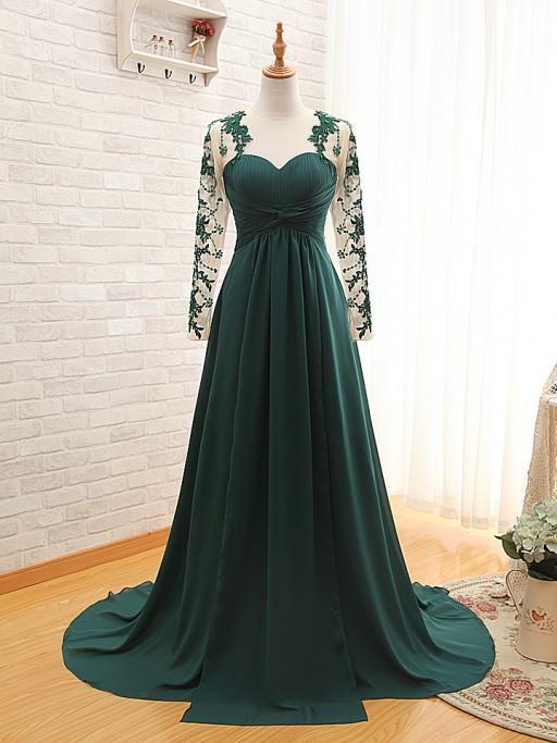 긴 소매 Applique 레이스 공식 예복 가운과 에메랄드 그린 긴 쉬폰 이브닝 가운 2016 Vestido De Festa party Gowns