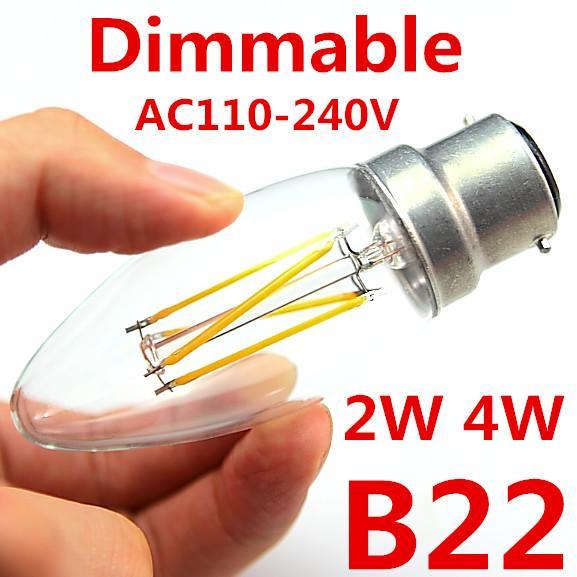 السوبر مشرق 2W 4W المصابيح خيوط أدى ضوء 360 زاوية الدافئة الأبيض E27 B22 C35 أضواء LED اديسون مصباح 110-240V أي ما يعادل 60W