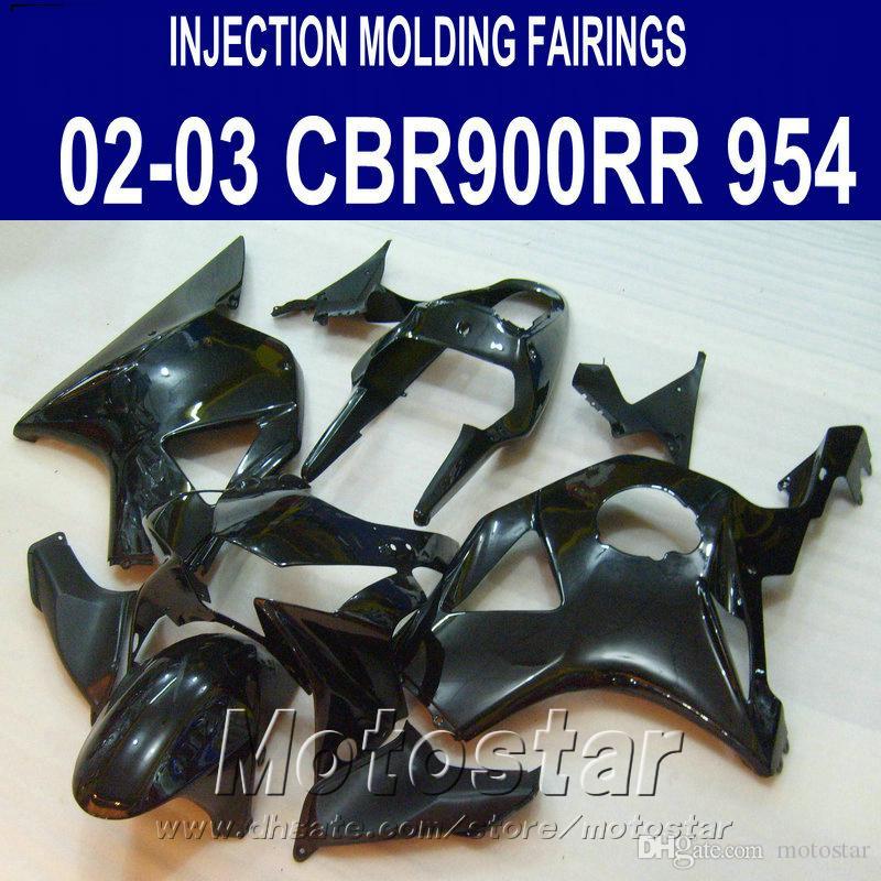 Injection molding Motorcycle parts for Honda cbr900rr fairings 954 2002 2003 all glossy black CBR954 fairing kit CBR900 RR 02 03 YR17