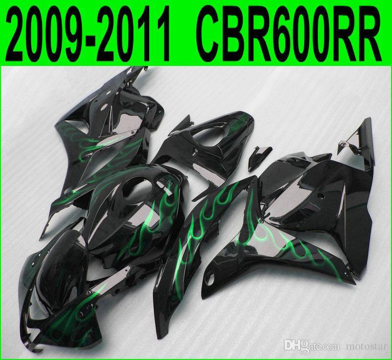 Injection molding fairing kit for Honda CBR600RR 2009 2010 2011 green flames in black aftermarket CBR 600RR 09 10 11 fairings set YR32