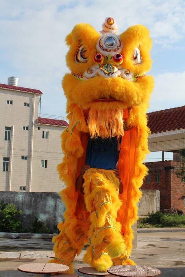 Высокое качество pur Lion Dance Костюм из чистой шерсти Southern Lion Взрослый размер китайский Народный костюм костюм талисмана льва