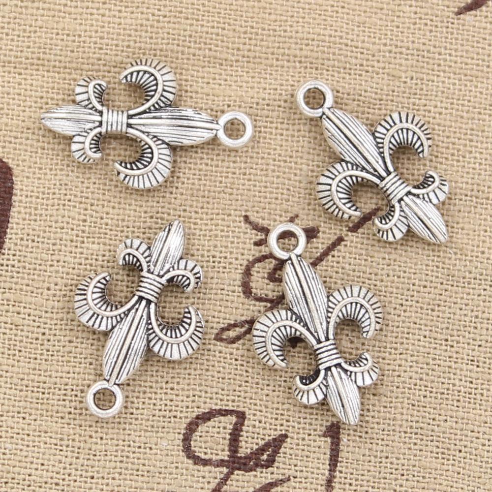 100 шт. Подвески FLEUR DE LIS 23 * 14 мм Античная, цинковый сплав кулон подходят, винтаж Тибетское Серебро, DIY для браслета ожерелье