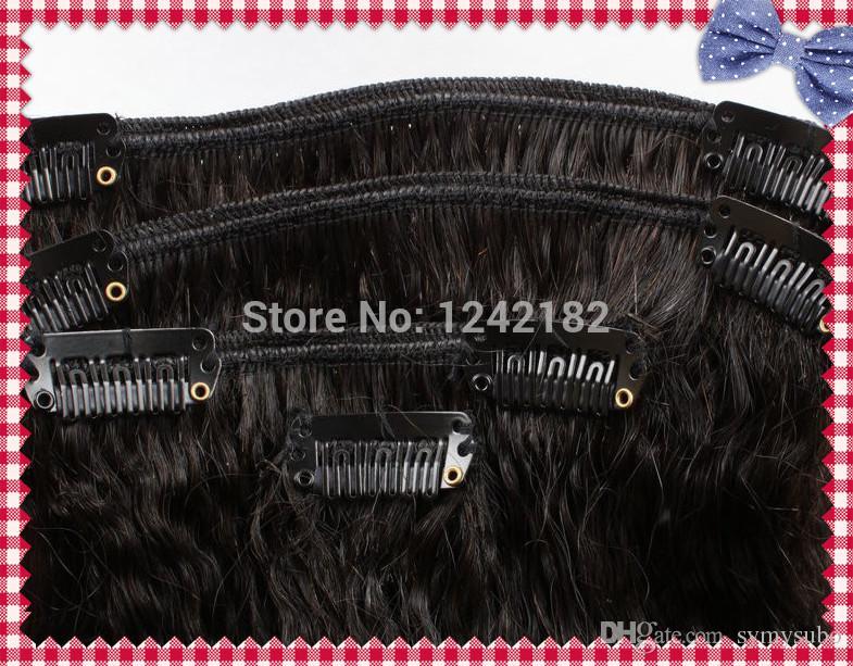 naturale nero clip in estensioni dei capelli umani 6a non trasformati capelli vergini peruviani crespi dritto dritto 7pcs grossolana yaki capelli umani