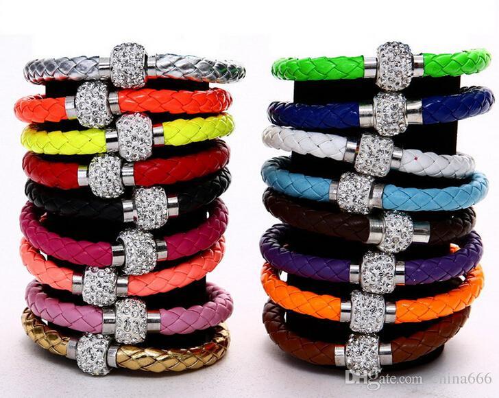 Бесплатная доставка новые 16 цветов микрофон Shambhala Weave кожа чешский хрусталь горный хрусталь манжеты глины магнитные застежки браслеты браслеты
