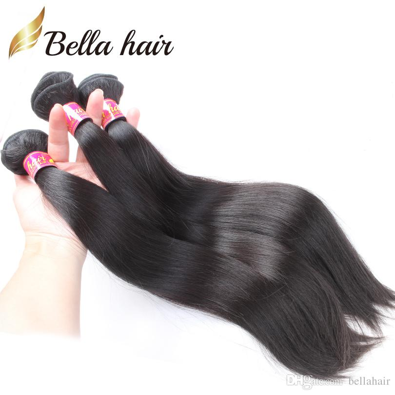 Bellahair Jungfrau Hair Bündel Gerade Brasilianisches Malaysischer peruanisches indisches menschliches Haar-Schuss-EXTESNION-Nagelbündel-Bündel natürliches Haar 3PC