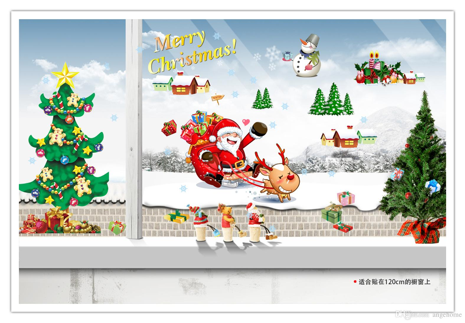 DIY Home Decoration Removable Christmas Tree wall sticker Santa Claus Art Decals Mural Wallpaper for Room Decal Stickers