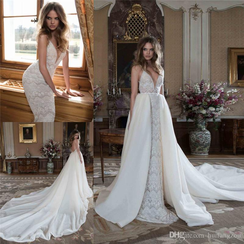 Berta Bridal Lace Wedding Dresses With Detachable Tail Deep V Neck Backless Bridal Gowns Cathedral Train Sleeveless Wedding Gown