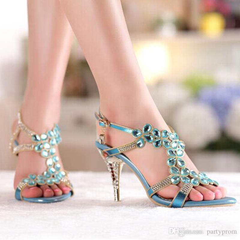 High Heel Sandals Beaded Rhinestone Open Toe Lady Bridesmaid Summer Cool Elegant Shoes Bridal Wedding Dresses Shoe