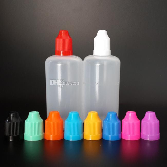 Hızlı gönderim çocukların açamayacağı Emniyet Caps ve Uzun İnce ipuçları ile sıkın için Plastik damlatma şişesi LDPE İğne şişelerini Kolay boşaltın 100ml