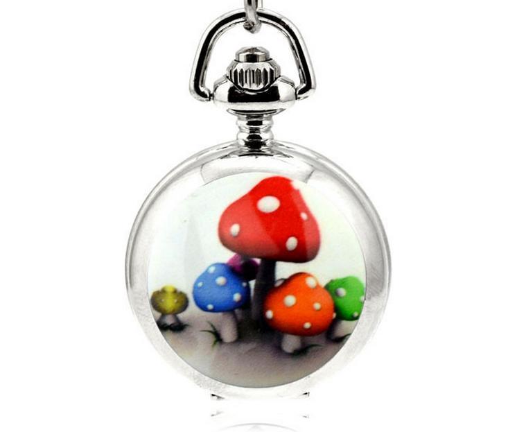 Красочные грибы мода кварц дизайн Белая сталь серебряная эмаль мультфильм ожерелье дети кулон старинные цепи часы