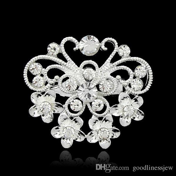 Spille di Natale Mix di gioielli Fashion Design Argento piantato trasparente con strass di cristallo di piccole dimensioni Bouquet di fiori spille da sposa