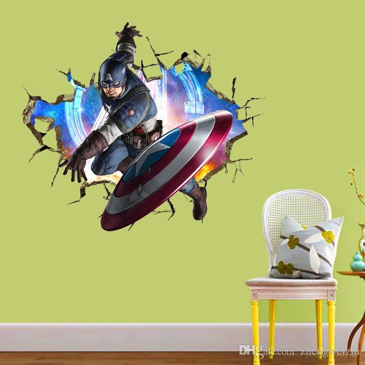 3d For Kids Rooms Cartoon Movie Character Avengers Captain America ...