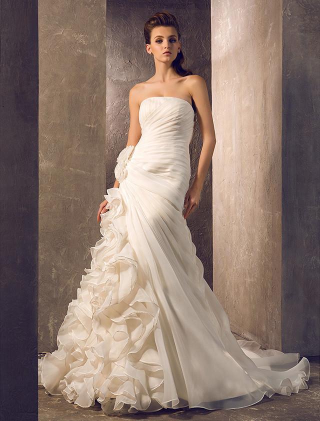 2016 New Hot Sale Fashion Trumpet/Mermaid Charming Luxurious Court Train Ivory Strapless Flowers Organza Wedding Dresses 229