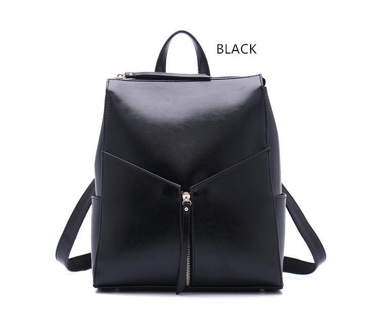 2015 Black Leather Backpack Designer Brand Women Genuine Leather ...