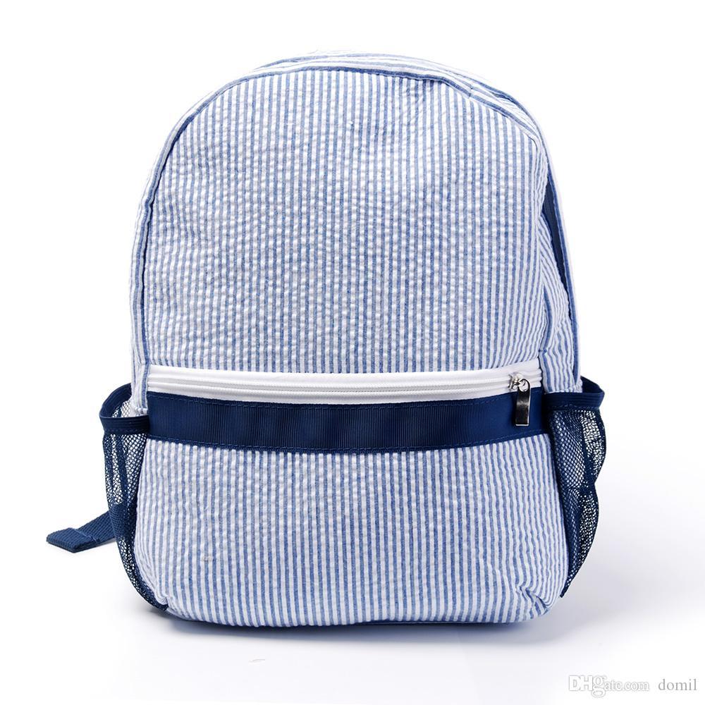 Dropshiping Seersucker 유아 학교 가방 Pre-School Backpack 핑크 네이비 옆 메쉬 포켓이있는 핑크 해군 다시 - 학교 가방 Domil187
