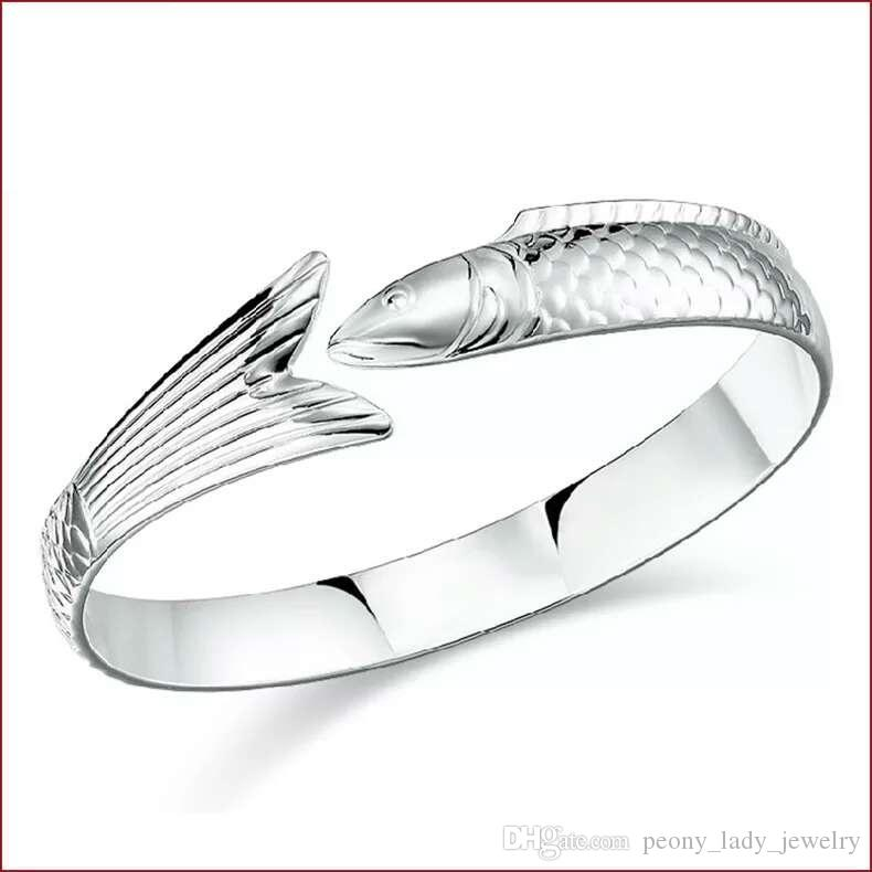 925 Sterling zilveren artikelen Sieraden bedelarmbanden Vintage Infinity Fish Shapy Unieke Tail Bangle Pastabale Size