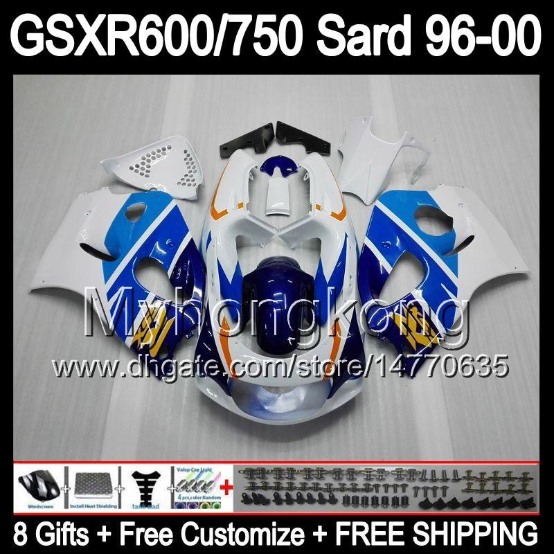 8Gifts + Kuip voor Suzuki Blauw Wit GSXR600 GSXR750 SRAD 96-00 GSXR 600 750 MY6 GSX R600 R750 96 97 98 99 00 1996 1997 1998 1999 2000 Lichaam