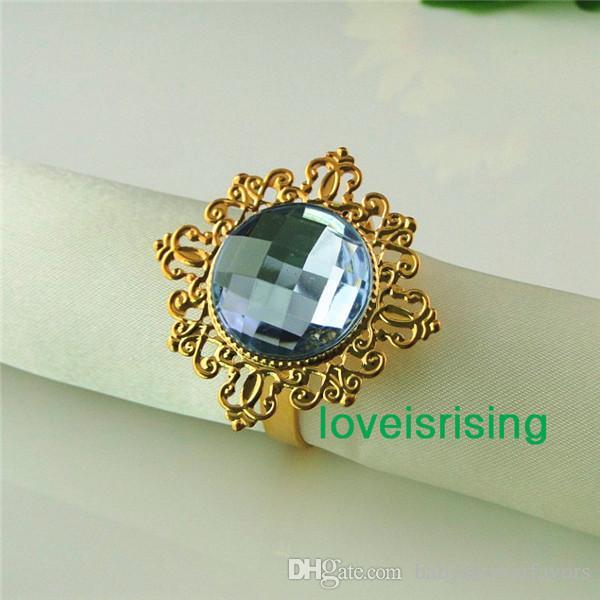 Низкая Цена-50 шт. синий позолоченный винтажный стиль кольца для салфеток свадьба свадебный душ салфетка держатель-Бесплатная доставка