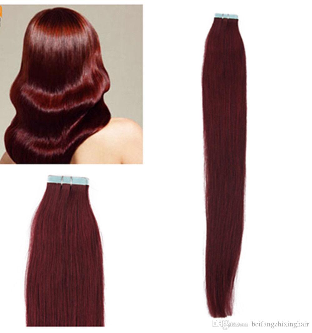 "Venta al por mayor - 14 ""- 24"" 100% humano PU EMY Tape Extensiones de cabello de piel 2.5 g / pcs 40pcs100g / set color # 99j burgundy DHL FREE"