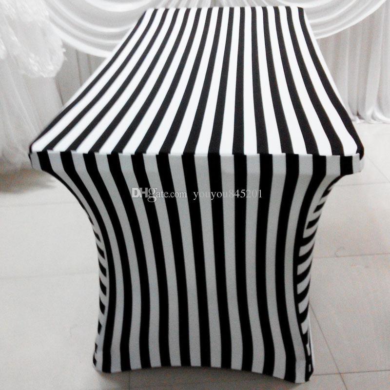 6FT Prostokąt White Black Color Stripe Drukuj Lycra Tabela 2 sztuk z bezpłatną wysyłką do użytku ślubu