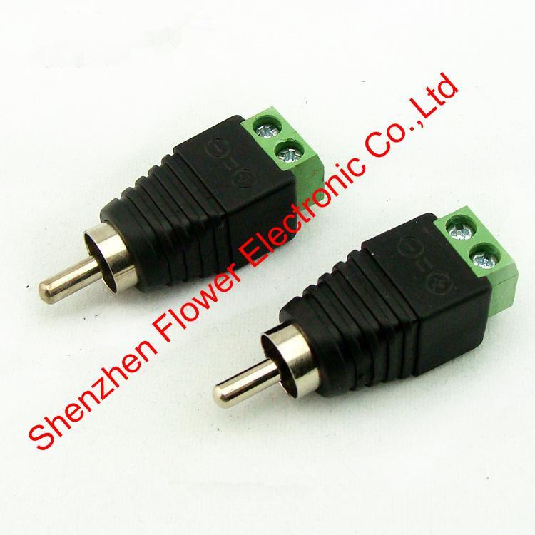 RCA Male plug, RCA Male connector RCA plug to 2pin connector RCA plug to screw terminal for CCTV
