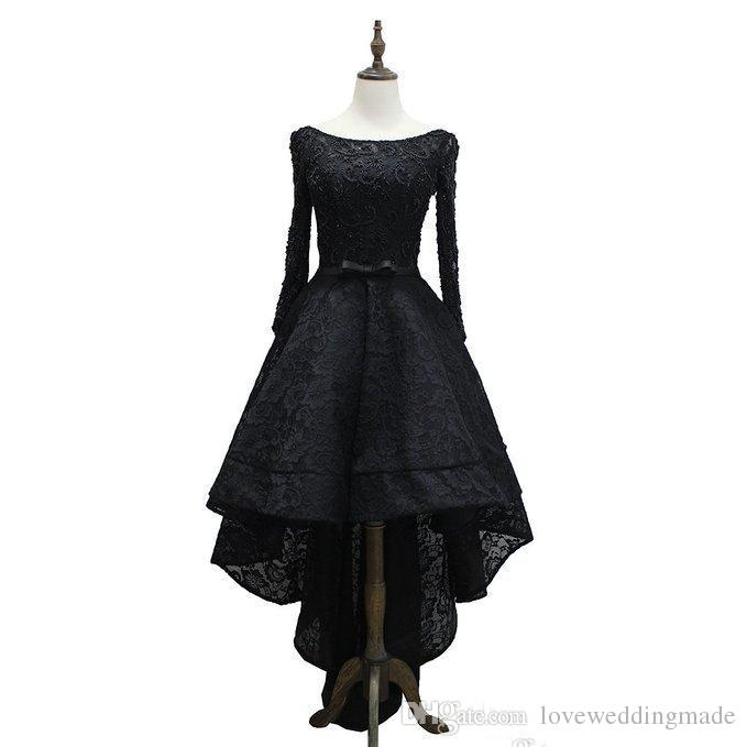 Little Black Dresses Full Lace Long Sleeves Scoop Neck Hi-lo Formal Party Prom Gown Custom Cocktail Dress 2017